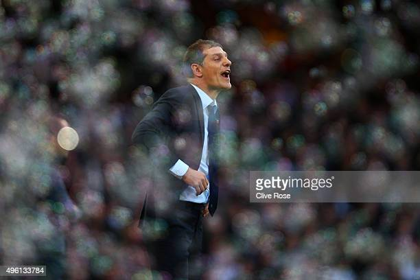 Slaven Bilic manager of West Ham United gestures during the Barclays Premier League match between West Ham United and Everton at Boleyn Ground on...