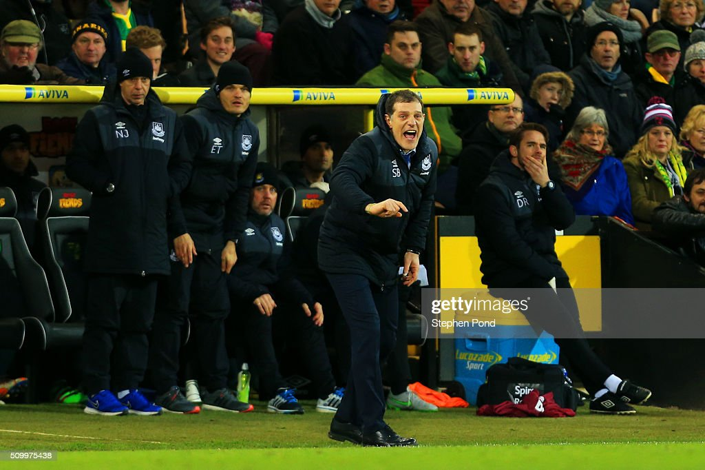Slaven Bilic manager of West Ham United gestures during the Barclays Premier League match between Norwich City and West Ham United at Carrow Road on February 13, 2016 in Norwich, England.