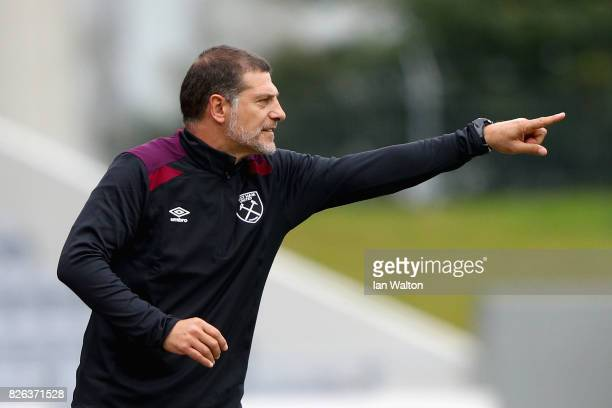 Slaven Bilic Manager of West Ham United gives his team instructions during a Pre Season Friendly between Manchester City and West Ham United at the...