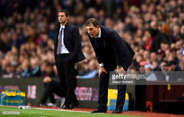 Slaven Bilic Manager of West Ham United looks on during the Barclays Premier League match between Aston Villa and West Ham United at Villa Park on...