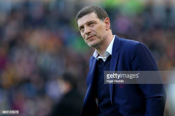 Slaven Bilic Manager of West Ham United looks on during the Premier League match between Hull City and West Ham United at KCOM Stadium on April 1...