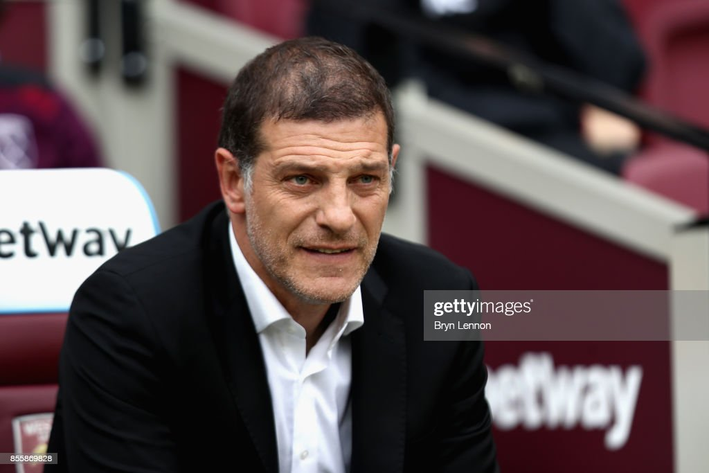Slaven Bilic, Manager of West Ham United looks on prior to the Premier League match between West Ham United and Swansea City at London Stadium on September 30, 2017 in London, England.
