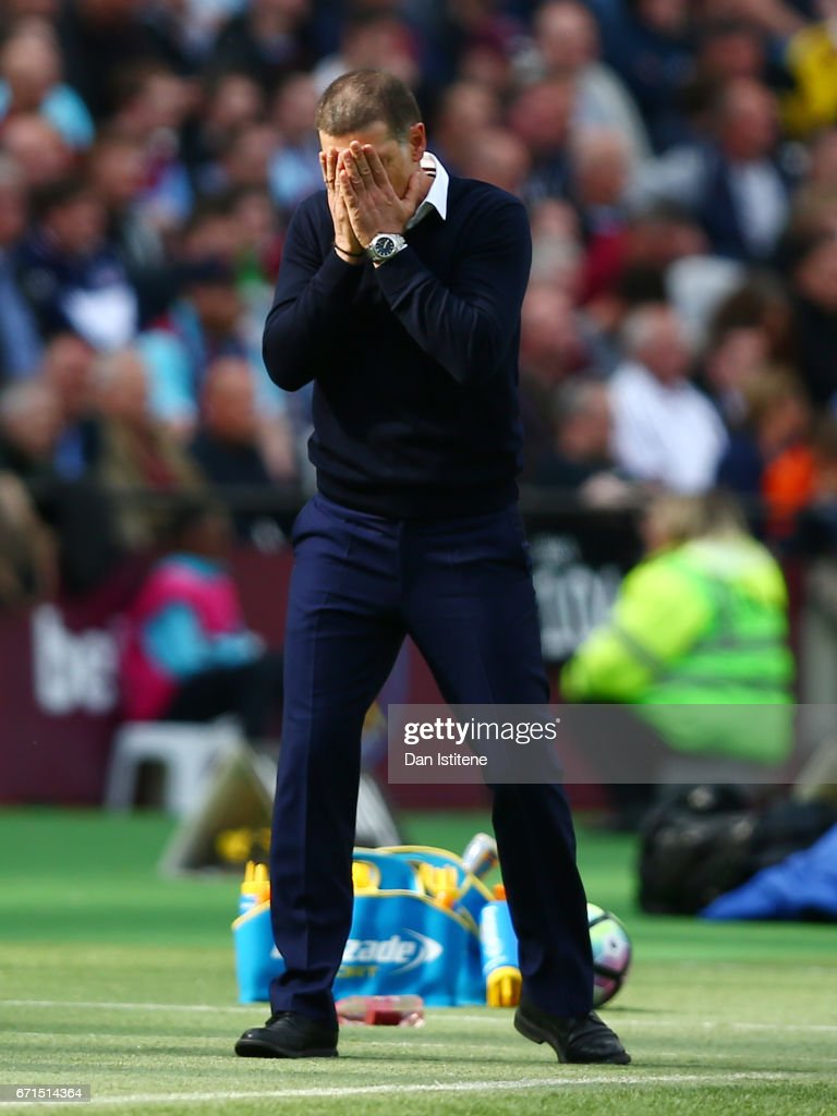 Slaven Bilic, Manager of West Ham United reacts during the Premier League match between West Ham United and Everton at the London Stadium on April 22, 2017 in Stratford, England.