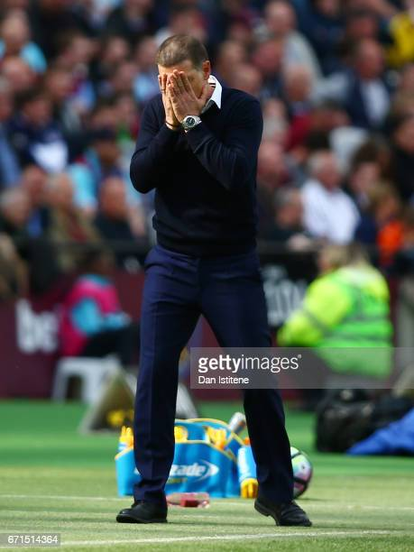 Slaven Bilic Manager of West Ham United reacts during the Premier League match between West Ham United and Everton at the London Stadium on April 22...