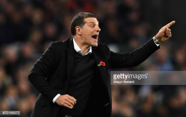 Slaven Bilic Manager of West Ham United reacts during the Premier League match between West Ham United and Liverpool at London Stadium on November 4...