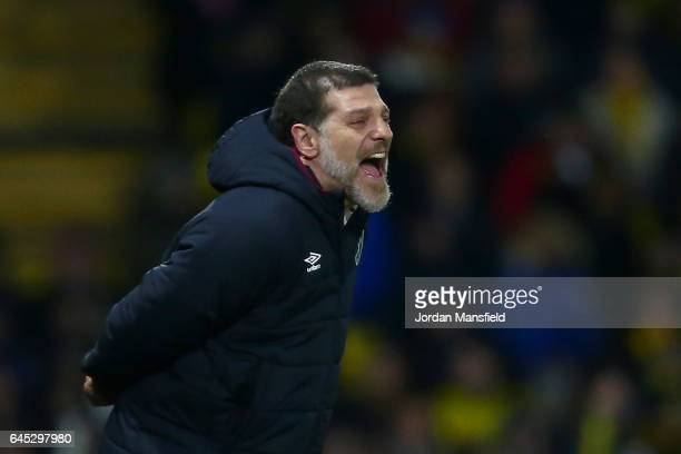Slaven Bilic manager of West Ham United shouts during the Premier League match between Watford and West Ham United at Vicarage Road on February 25...
