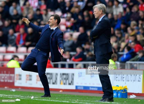 Slaven Bilic Manager of WestHam United reacts during the Premier League match between Sunderland and West Ham United at Stadium of Light on April 15...