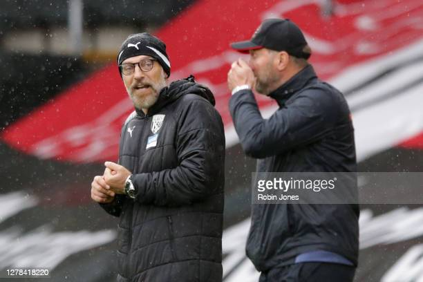 Slaven Bilic of West Bromwich Albion and Ralph Hasenhuttl of Southampton during the Premier League match between Southampton and West Bromwich Albion...
