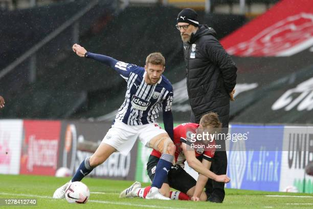 Slaven Bilic of West Bromwich Albion with Sam Field of West Bromwich Albion and Stuart Armstrong of Southampton during the Premier League match...