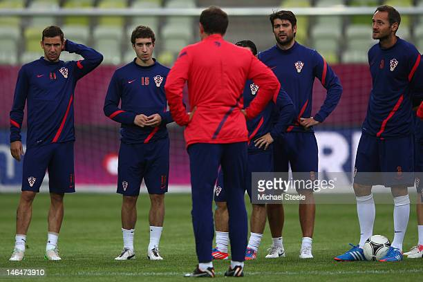 Slaven Bilic the coach of Croatia addresses his squad during a UEFA EURO 2012 training session at the Municipal Stadium on June 17 2012 in Gdansk...