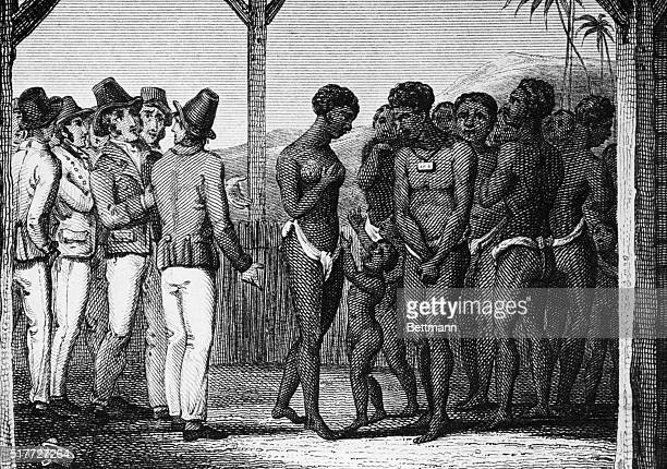 Slaves being auctioned and families separated Copper engraving ca 1810