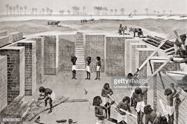 Slaves building the tomb of a first dynasty Egyptian king Bricks were made with mud from the Nile mixed with straw moulded and stamped with the head...