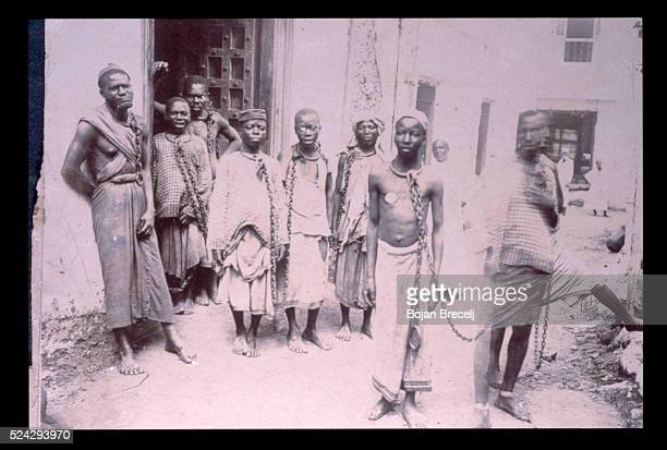 Slaves in chains on the island of Zanzibar in the 19th century Slavery was abolished in March 5 1873 Within twenty four hours the main slave market...