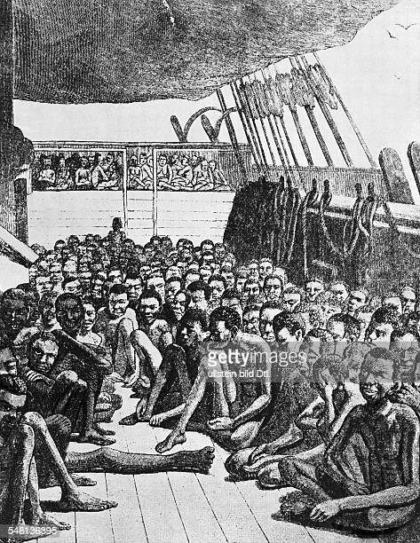 Slaves on a ship destined for America line drawing 1860 Vintage property of ullstein bild