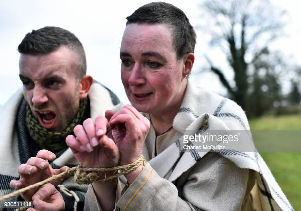 'Slaves' played by members of the Magnus Viking association are freed by Saint Patrick as the reenactment of Saint Patrick's first landing in Ireland...