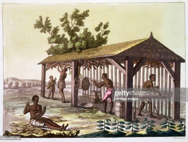 Slaves preparing tobacco, Virginia, USA. C1790 . Plate 50 from Le Costume Ancien et Moderne, Volume II, by Jules Ferrario. Artist Angelo Biasioli.