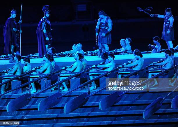 Slaves row the galley of Quintus Arius during the full dress rehearsal for 'Ben Hur' in Sydney's Olympic Stadium on October 20 2010 'Ben Hur' based...