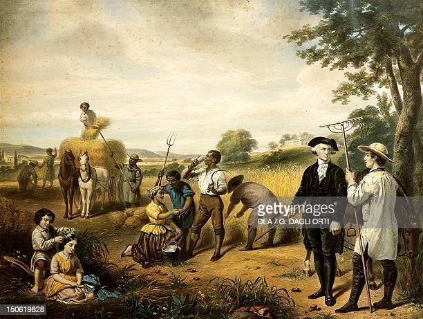 Slaves working in the fields under the watch of the master and overseer Slavery United States circa 1825