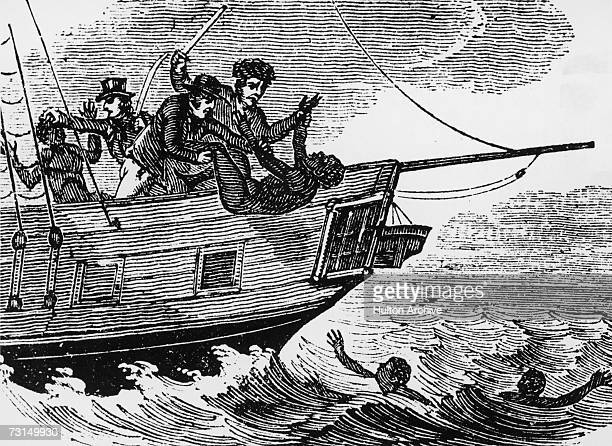 Slavetraders throwing slaves overboard to avoid capture by a patrol ship circa 1833 Although outlawed in the British Empire in 1807 slavery persisted...