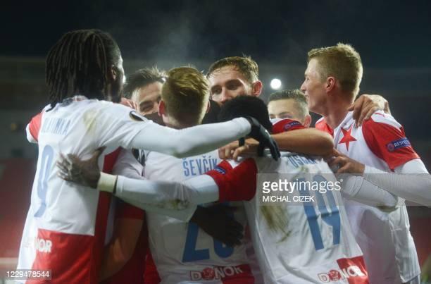 Slavia Prague's players celebrate after scoring a goal during the UEFA Europa League Group C football match Slavia Prague v OGC Nice at the Eden...