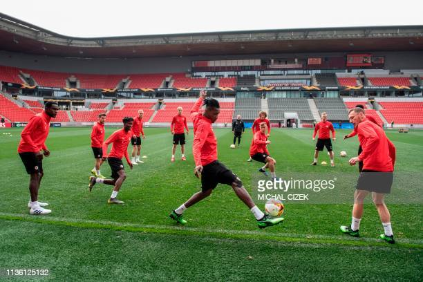 Slavia Prague's players take part in a training session on the eve of the UEFA Europa League quarterfinal first leg football match Slavia Prague v...