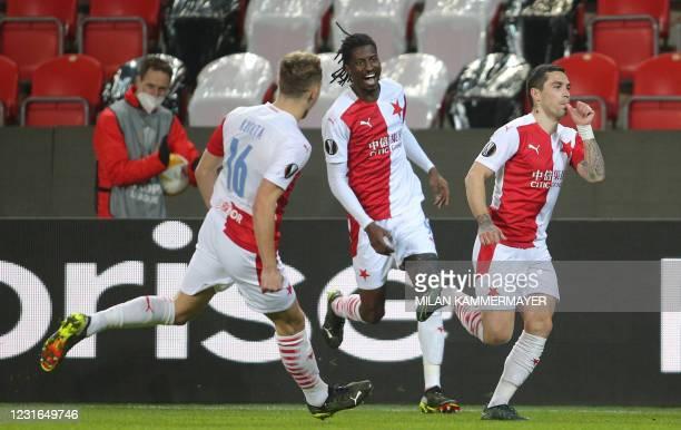 Slavia Prague's Romanian midfielder Nicolae Stanciu celebrates scoring the opening goal with his teammates during the UEFA Europa League, last 16,...