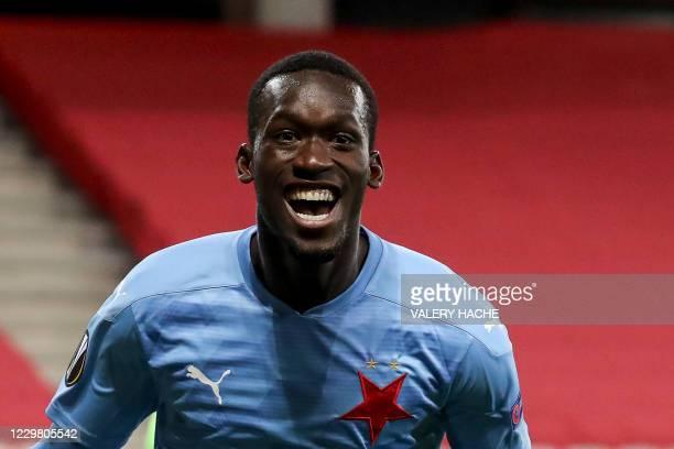 Slavia Prague's Senegalese forward Abdallah Sima celebrates after scoring a goal during the UEFA Europa League Group C football match between OGC...