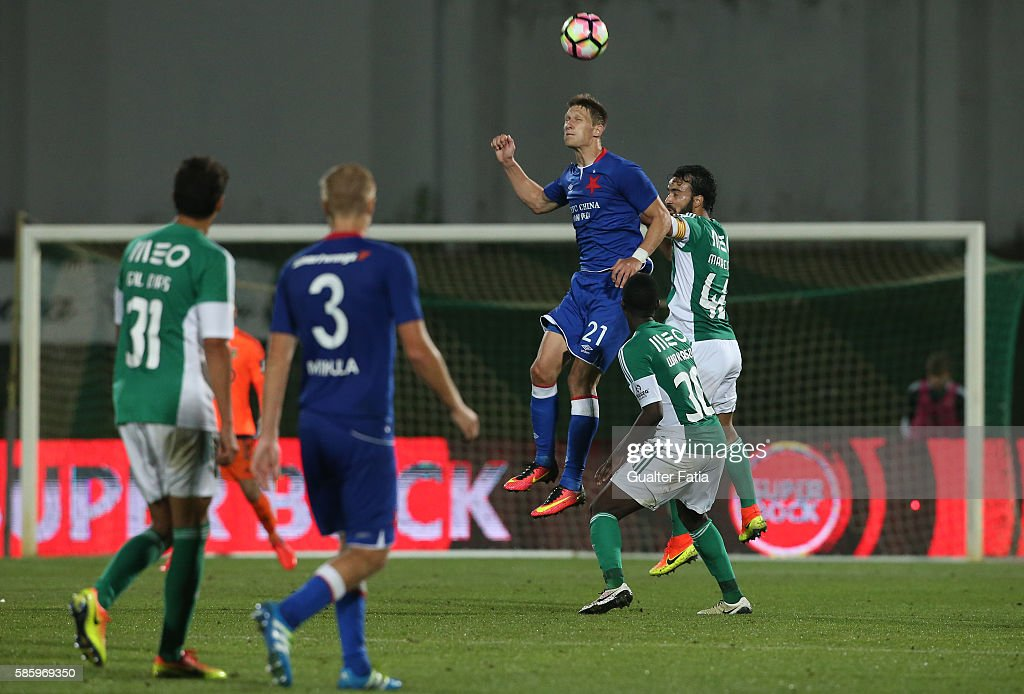 Slavia PrahaÕs forward Milan Skoda with Rio Ave FCÕs defender Marcelo in action during the UEFA Europa League Qualifications Semi-Finals 2nd Leg match between Rio Ave FC and Slavia Praha at Estadio dos Arcos on August 4, 2016 in Povoa de Varzim, Portugal.