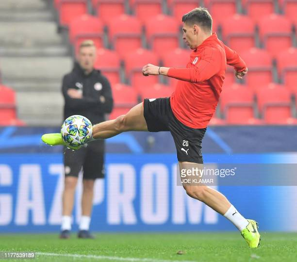 Slavia's midfielder Lukas Masopust attends a training session at the Sinobo Stadium in Prague Czech Republic on October 22 2019 on the eve of the...