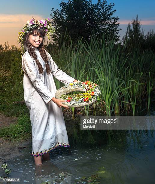 Slavic divination with wreath in night of Ivan Kupala
