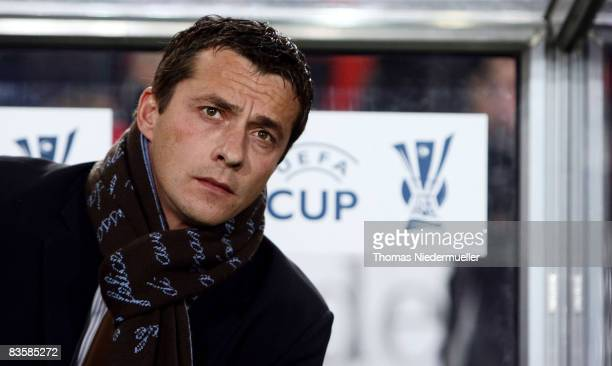 Slavisa Jokanovic head coach of Belgrad is seen prior the UEFA Cup Group C match between VfB Stuttgart and FK Partizan at the Mercedes Benz Arena on...