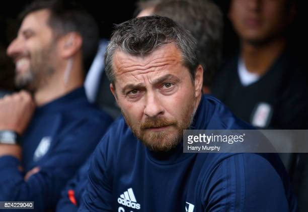 Slavisa Jokanovic Head Coach of Fulham looks on prior to the PreSeason Friendly match between Fulham and VfL Wolfsburg at Craven Cottage on July 29...