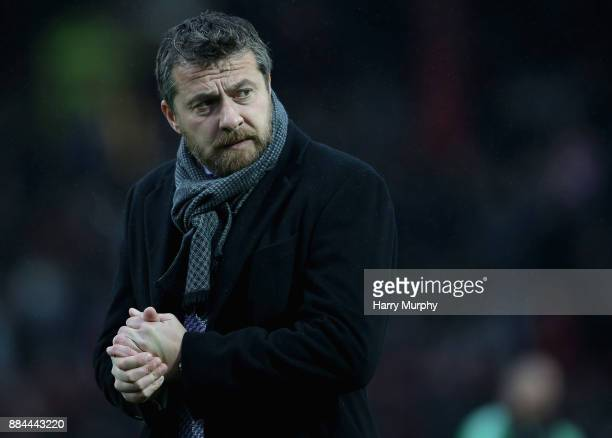 Slavisa Jokanovic Head Coach of Fulham looks on prior to the Sky Bet Championship match between Brentford and Fulham at Griffin Park on December 2...