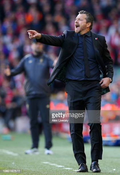 Slavisa Jokanovic Manager of Fulham gives his team instructions during the Premier League match between Liverpool FC and Fulham FC at Anfield on...