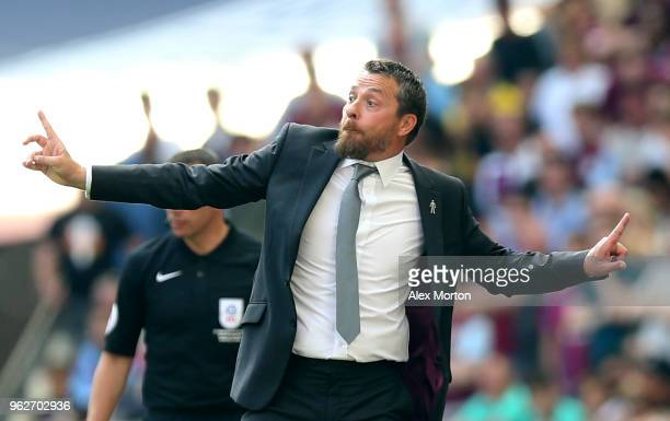 Slavisa Jokanovic Manager of Fulham gives his team instructions during the Sky Bet Championship Play Off Final between Aston Villa and Fulham at...