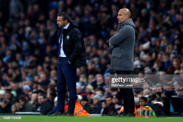 Slavisa Jokanovic Manager of Fulham looks on during the Carabao Cup Fourth Round match between Manchester City and Fulham at Etihad Stadium on...