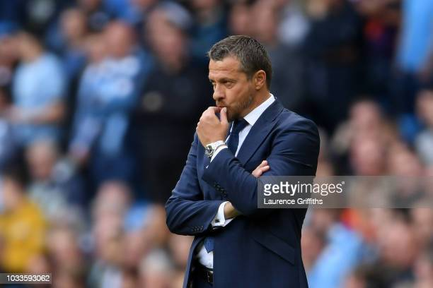 Slavisa Jokanovic Manager of Fulham looks on during the Premier League match between Manchester City and Fulham FC at Etihad Stadium on September 15...