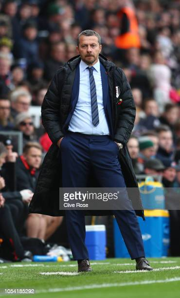 Slavisa Jokanovic Manager of Fulham looks on during the Premier League match between Fulham FC and AFC Bournemouth at Craven Cottage on October 27...