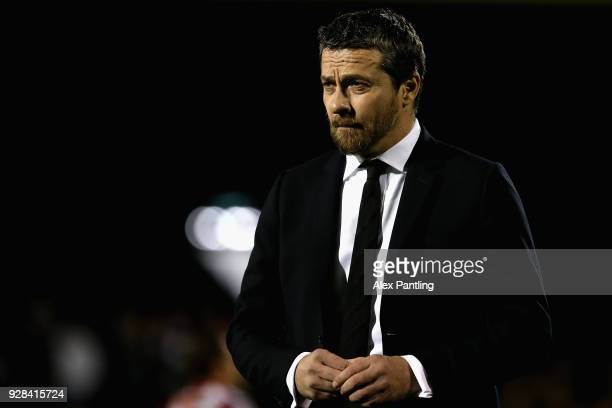 Slavisa Jokanovic Manager of Fulham looks on during the Sky Bet Championship match between Fulham and Sheffield United at Craven Cottage on March 6...