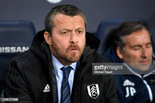 Slavisa Jokanovic Manager of Fulham looks on prior to the Carabao Cup Fourth Round match between Manchester City and Fulham at Etihad Stadium on...