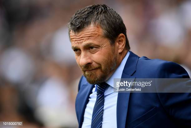 Slavisa Jokanovic Manager of Fulham looks on prior to the Premier League match between Fulham FC and Crystal Palace at Craven Cottage on August 11...