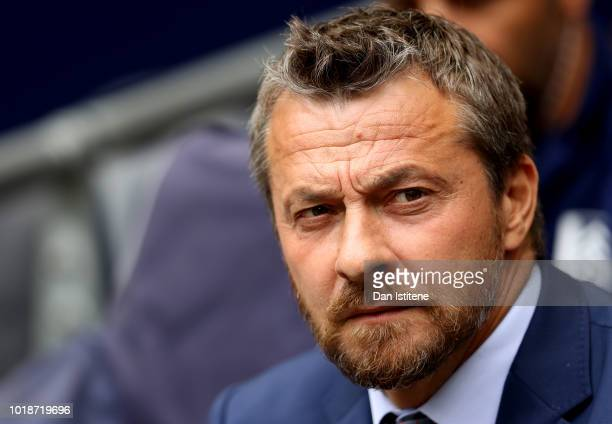 Slavisa Jokanovic Manager of Fulham looks on prior to the Premier League match between Tottenham Hotspur and Fulham FC at Wembley Stadium on August...