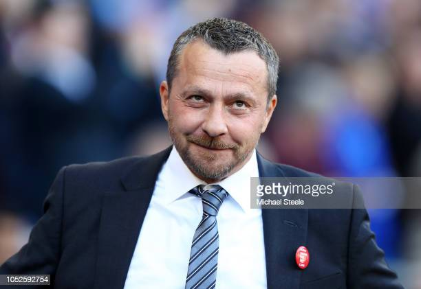 Slavisa Jokanovic Manager of Fulham looks on prior to the Premier League match between Cardiff City and Fulham FC at Cardiff City Stadium on October...
