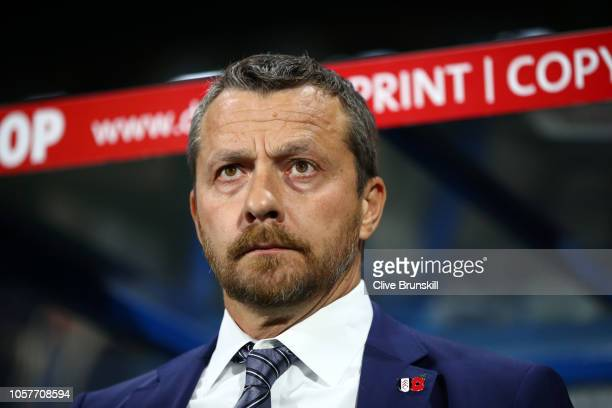 Slavisa Jokanovic Manager of Fulham looks on prior to the Premier League match between Huddersfield Town and Fulham FC at John Smith's Stadium on...