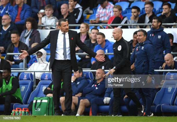 Slavisa Jokanovic Manager of Fulham reacts during the Premier League match between Cardiff City and Fulham FC at Cardiff City Stadium on October 20...