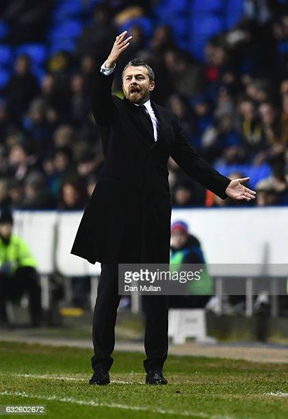 Slavisa Jokanovic manager of Fulham reacts during the Sky Bet Championship match between Reading and Fulham at Madejski Stadium on January 24 2017 in...