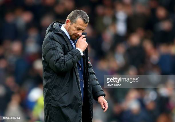 Slavisa Jokanovic Manager of Fulham walks across the pitch at half time during the Premier League match between Fulham FC and AFC Bournemouth at...