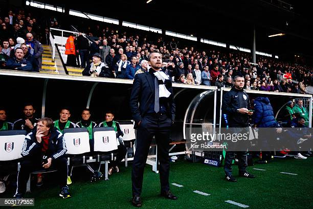 Slavisa Jokanovic the Fulham Head Coach looks on before the Sky Bet Championship match between Fulham and Sheffield Wednesday at Craven Cottage on...