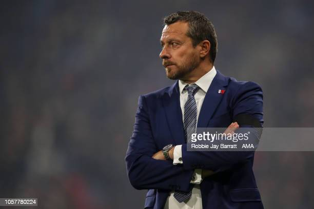 Slavisa Jokanovic the head coach / manager of Fulham during the Premier League match between Huddersfield Town and Fulham FC at John Smith's Stadium...
