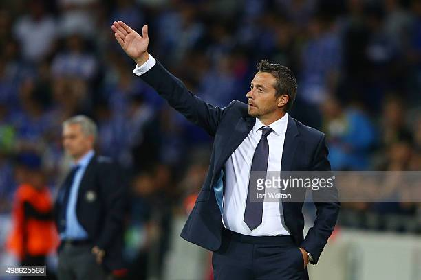 Slavisa Jokanovic the head coach of Maccabi TelAviv directs his players during the UEFA Champions League Group G match between Maccabi TelAviv FC and...